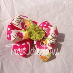 Spring flower bow- pink bow- flower bow- toddler bow- girls bow - pinned by pin4etsy.com