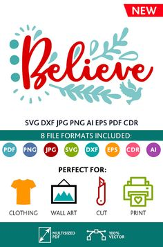 Believe SVG Cut Files Wall Art Quote Printable Art Decor room Art Printable Poster digital (Svg Dxf Cdr Eps Ai Jpg Pdf Png)