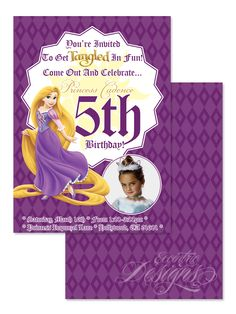 Tangled / Rapunzel - Digital Birthday Party Invitation / Child Party Ideas / Children Party Themes / Children Invites / Children Invitations / Kid Party Ideas / Kid Invitations