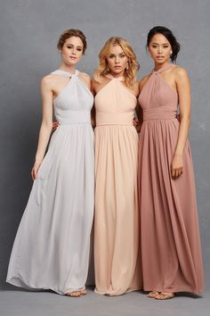 """Haley"" floor-length bridesmaid dresses with keyhole halter neckline. #BridesmaidDresses Photography: Courtesy of Donna Morgan. Read More: http://www.insideweddings.com/news/fashion/glitzy-bridesmaid-dresses-your-girls-will-want-to-wear-again/1998/"