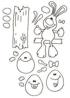 Gabarit - Guirlande Lapin de Pâques et ses oeufs
