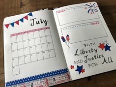 July monthly layout for bullet journal. Did it in red, white and blue to honor Independence Day. Happy 4th of July everyone. Enjoy the fireworks! Liberty and Justice for all. #bujo #fourthofjuly #redwhiteandblue.