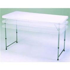 """Lifetime Prod. Inc. 4435 4' Fold-in-Half Adjustable Folding Table by Lifetime Prod. Inc.. $87.58. Easy to clean. Use mild soap and a soft bristled brush. For tough stains, use a mild abrasive such as Soft Scrub. Use rubbing alcohol on wax, and a degreaser for automotive grease.. Meets ANSI/BIFMA standards. 48"""" L x 24"""" W , Adjusts to 22"""", 29"""", or 36"""" Heights. Powder-coated steel and high-density polyethylene (HDPE) plastic. Indoor, outdoor, fold in half, adjustable height. ..."""