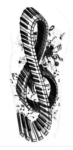 I love this treble clef infused with music notes and keyboard design!