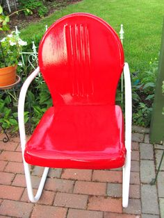 My red metal chair.