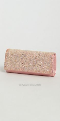 Add sparkle to your ensemble wearing the glitter satin full flap clutch handbag by Camille La Vie. #edressme