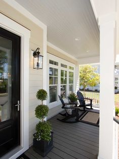 Minimalist Traditional Porch Design Ideas – TRENDUHOME – farmhouse front door with screen House Design, Home, House With Porch, House Exterior, Porch Design, Exterior Design, Porch Flooring, Tan House, Porch Paint