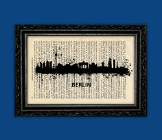 Berlin Germany World Cities Skylines Art Print - Building Europe Silhouettes Book Art Poster Dorm Room gift Wall Dictionary Print