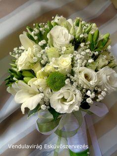 Menyasszonyi csokor. Virágok, frézia ,csokros rózsa,fátyolvirág krizantém és lisianthus.    https://www.facebook.com/vendulavirag/