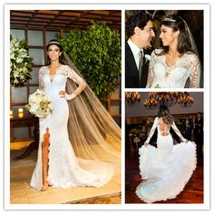 Find More Wedding Dresses Information about Vintage Mermaid Lace Long Sleeve Wedding Dress 2015 V Neck Beaded Front Slit Court Train Floor Length Wedding Bridal Gowns AE35,High Quality gown,China gowns to wear to a wedding Suppliers, Cheap gown beaded from Suzhou Romantic Wedding Dress Co. Ltd on Aliexpress.com