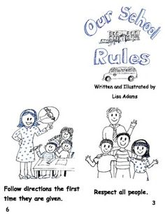 School Rules for beginning readers and ELL/  ESOL students