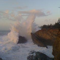 Crashing waves at Shore Acres State Park. Charleston, Oregon