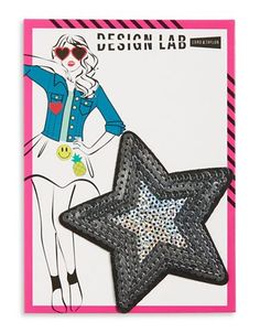 Design Lab Lord & Taylor Sequined Star Patch Women's Silver