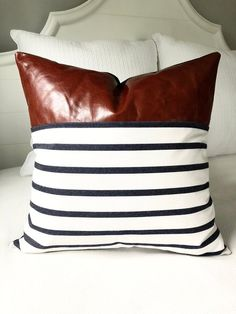 fd8419b5 Pillow Covers 20x20 Pillow Cover Leather Pillow Cover Blue & White Throw  Pillow Covers Striped Pillow Cover Nautical Pillows Throw Pillows