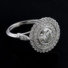 art deco flower ring | Art Deco Halo Style Platinum Pave Diamond And Round Forever Brilliant ...