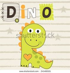 cute dinosaur T-shirt graphics striped background vector illustration - stock vector