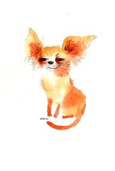 The chihuahua dog, original painting by ozozo. €40,00, via Etsy.