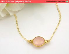 Pink Chalcedony Necklace, Gemstone Jewelry, Anniversary Gift for Wife, Birthday Gifts for Mom Gifts for Women Gifts for Sister Gifts