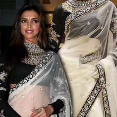A shimmering net saree that is a replica of a designer saree worn by actress Deepika Padukone. Price: Rs 16435.
