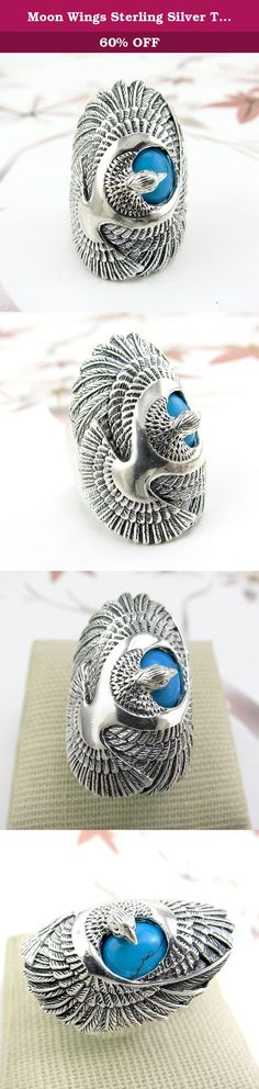 Moon Wings Sterling Silver Turquoise Eagle Ring (6). Product specifications Weight: approx. 15g; Material 100% international standard S925 sterling silver. Sterling silver refers to 92.5% silver content. Due to additional content, S925 is resistant to deformation not easy deformation. And the hardness of the S925 sterling silver is also greatly enhanced. Our sterling silver jewelry has unique texture and color which makes it with full of fashion sense. We are using the real products to…