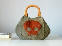 Skull pattern Knitting Tote women fashion Fall tones by NzLbags, $115.00
