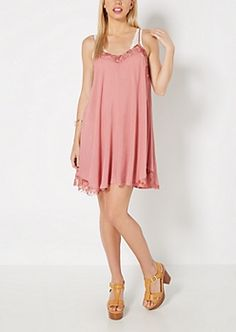 f90e621b5d5 Pink Lace Neck Swing Dress Going Out Dresses