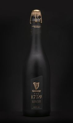 Guinness The 1759 luxury limited edition beer. The ultra-premium beer served in stemless champagne flutes to maximize the flavor. Guinness, Wine Bottle Labels, Wine Label, Beer Bottle, Premium Beer, Ultra Premium, Stemless Champagne Flutes, Alcohol Bottles, Liquor Bottles