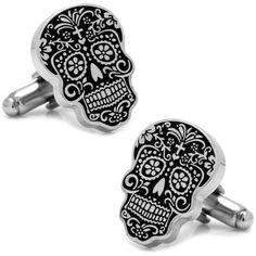Cufflinks Men's Day of the Dead Cufflinks (1,000 MXN) ❤ liked on Polyvore featuring men's fashion, men's accessories, cuff links, silver and mens cuff links