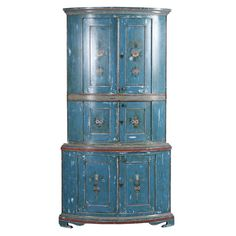 Original Blue Painted Swedish Corner Cupboard #1