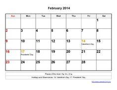 Printable Calendar 2014 February Templates