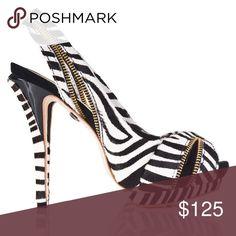 L.A.M.B. Dawna Zebra print sandals size 9 Cute calf hair zebra print sandal with gold zipper details. Worn maybe 3 times. L.A.M.B. Shoes Heels