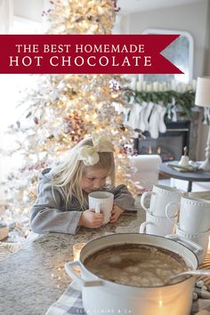The best homemade hot chocolate recipe comes together in just a few minutes with pantry items. So chocolatey and delicious- this is one of our very favorite family Christmas recipes. Homemade Hot Chocolate, Hot Chocolate Bars, Hot Chocolate Recipes, Christmas Dinner Menu, Christmas Kitchen, Family Christmas, White Christmas, Christmas Time, Frosted Christmas Tree