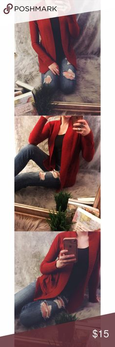 Red Knit Cardigan Red Knit Cardigan! Super cute in fall and winter! Only worn a few times! Sweaters Cardigans