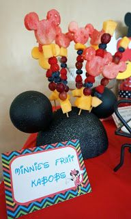 Mickey Mouse Birthday Party - Minnie's fruit kabobs