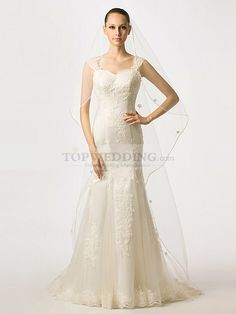 Rolline - Cap Sleeved Tulle over Satin Mermaid Wedding Dress with Beaded Applique