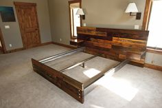 Custom Reclaimed King Platform Bed & Floating End Tables by Mez Works | CustomMade.com