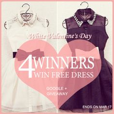 #Sheinside White Valentine's Day #Giveaway Time!     1. Follow Sheinside's Google+ : Sheinside StreetFashion 2. Like, share and comment below this post 3. 4 winners will win  the beautiful dress of your adorable color free of charge! 4. It will last from Mar 12 to Mar 17  It is your time to win the stunners! Ready? Go!!! #dress: white:http://bit.ly/1lUOkv5                 black:http://bit.ly/1qv0g7s