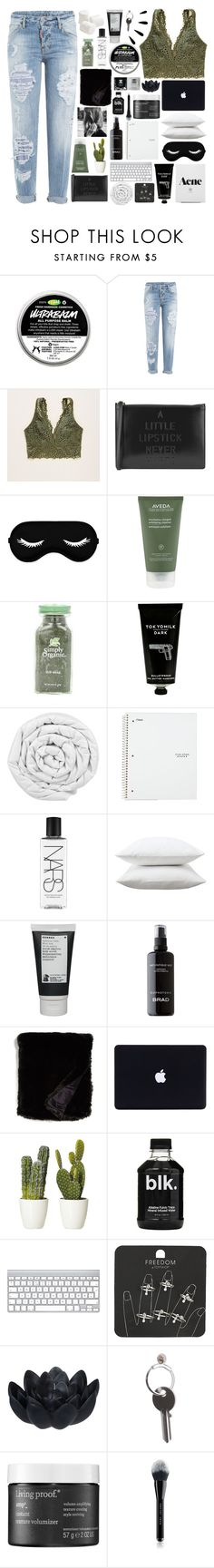 """""""whisper sweet nothings in my ear"""" by awakened-paradise ❤ liked on Polyvore featuring Dsquared2, Aerie, Lulu Guinness, Aveda, TokyoMilk, Brinkhaus, NARS Cosmetics, Fieldcrest, Korres and BRAD Biophotonic Skin Care"""