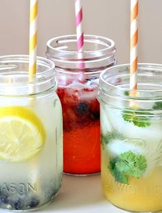 Fruit, Herb & Alcohol concoctions in mason jars with awesome paper straws!