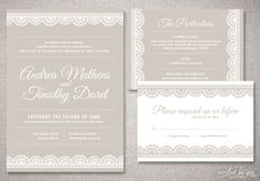 "Art Deco Lace ""Andrea"" Wedding Invitations Suite - Vintage Modern Invite - Custom DIY Digital Printable or Printed Invitation. $75,00, via Etsy."