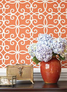 Kendall #wallpaper in #persimmon from the Geometric Resource 2 collection. #Thibaut