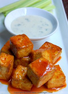 Buffalo Style Roasted Tofu -- Verdict: Not gonna replace wings for me, but I really enjoyed this! I liked the texture of the roasted tofu. Tofu Dishes, Vegan Dishes, Tempeh, Buffalo Tofu, Buffalo Wings, Vegan Buffalo Sauce, Buffalo Chicken, Whole Food Recipes, Cooking Recipes