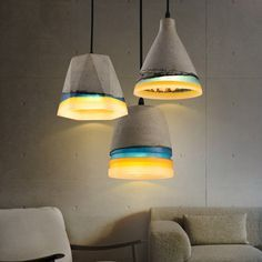 Loomier Vintage Concrete & Colorful Resin Single-Light Pendant Light - Pendant Lights - Ceiling Lights - Lighting