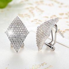 Diamond-shaped Rhinestone Pave-set Stud Earrings