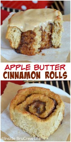 These easy cinnamon rolls have three times the apple butter in them. Baked Apple Dessert, Apple Dessert Recipes, Apple Recipes, Just Desserts, Sweet Recipes, Brunch Recipes, Donuts, Yummy Treats, Yummy Food