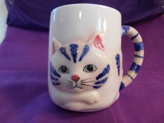 Unique Vintage 3D Blue and White Tabby Kitty Cat Mug with Tail for Handle | eBay