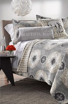 Chic bed collection for fall. The grey tones are perfect this season.