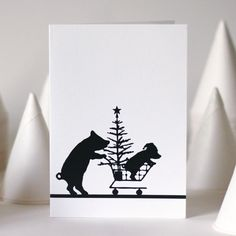 Shopping Pig Christmas Card