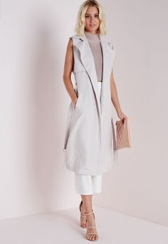 Sleeveless Belted Trench Jacket Grey - Coats and Jackets - Trench Coats - Missguided