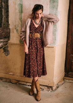 Modest Outfits, Boho Outfits, Casual Dresses, Short Dresses, Fashion Outfits, Look Fashion, Autumn Fashion, Boho Fashion Over 40, Style Parisienne
